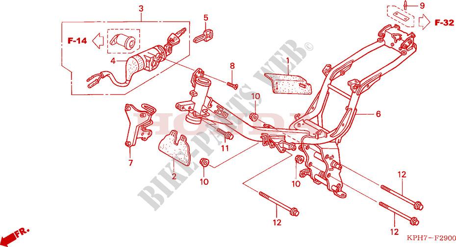 FRAME BODY for Honda    INNOVA       125    2007   HONDA Motorcycles   ATVS Genuine Spare Parts Catalog