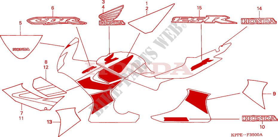 Mark  Stripe  Cbr125r  Rw5  Rw6  For Honda Cbr 125 2006   Honda Motorcycles  U0026 Atvs Genuine Spare