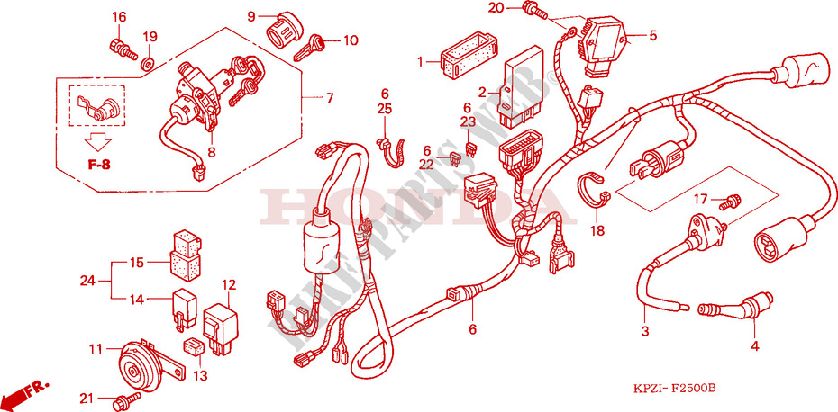 wire harness frame ses1254 2004 other models 125 scooter honda honda cm200t wiring-diagram honda scooter 125 autres modeles 2004 ses1254 frame wire harness