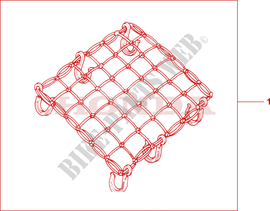 RUBBER NET A Honda microfiche motorcycle  2005 XR 125 L Electric start