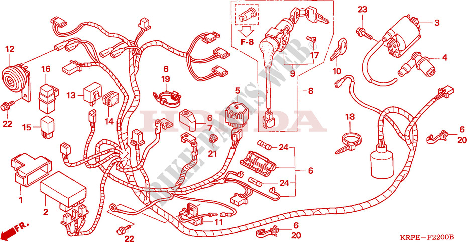 Wire Harness For Honda Scv 100 Lead 2005   Honda Motorcycles  U0026 Atvs Genuine Spare Parts Catalog