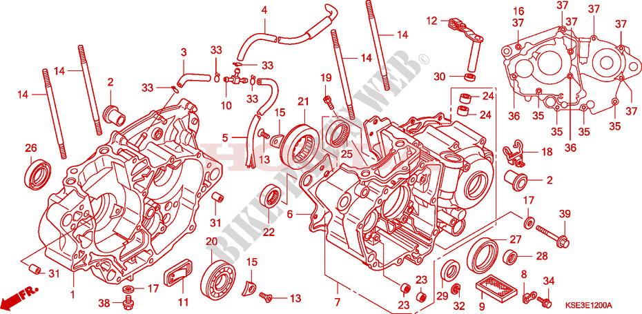 Crankcase For Honda Crf 150 R Big Wheels 2008   Honda Motorcycles  U0026 Atvs Genuine Spare Parts Catalog