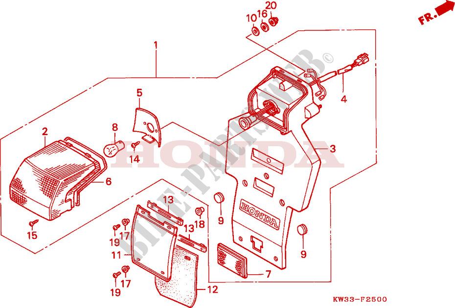 Taillight For Honda Nx 250 1993   Honda Motorcycles  U0026 Atvs Genuine Spare Parts Catalog