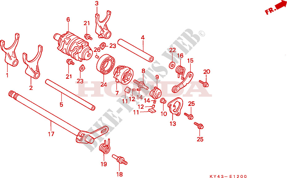 Gearshift Drum For Honda Nsr 125 R 1991   Honda Motorcycles  U0026 Atvs Genuine Spare Parts Catalog