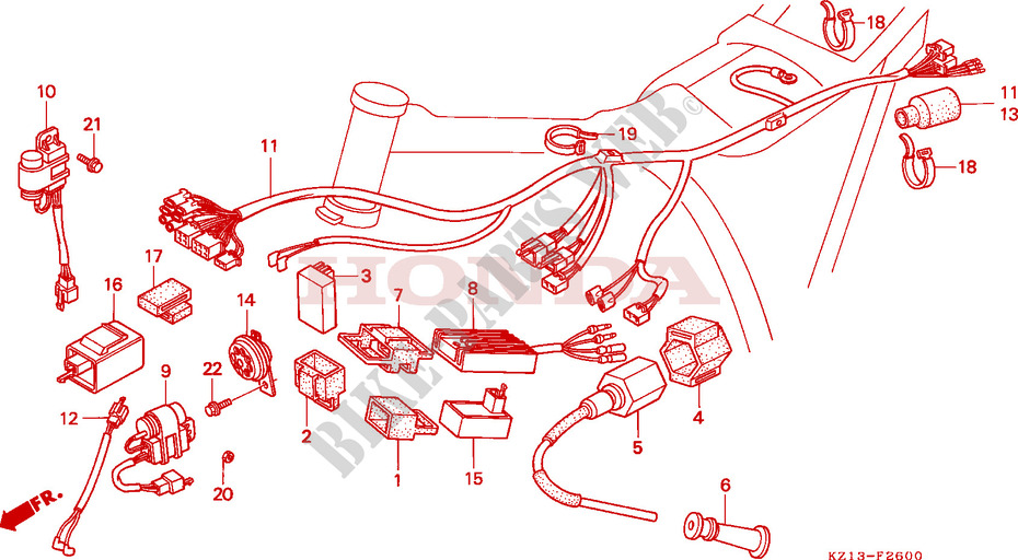 WIRE HARNESS/ IGNITION COIL/C.D.I. UNIT for Honda XR 250 ... on