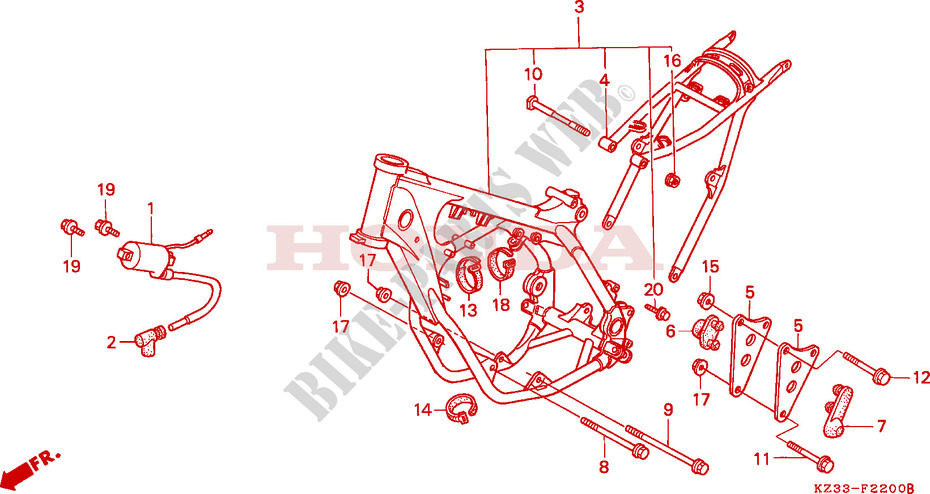 FRAME BODY/ IGNITION COIL Honda microfiche motorcycle CR250RM