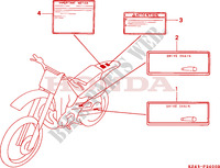 CAUTION LABEL Frame 125 honda-motorcycle CR 1997 F__2400