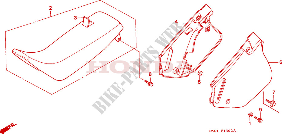 Seat  Side Cover  Cr125rp  Rr  Rs  Rt  Rv  For Honda Cr 125