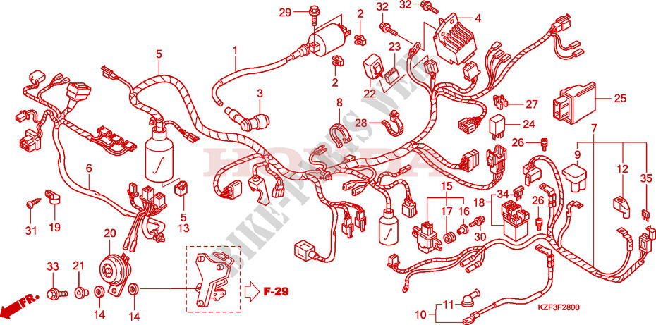 Wire Harness For Honda Innova 125 2010   Honda Motorcycles