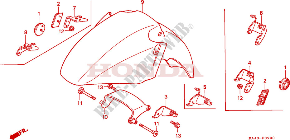 FRONT FENDER (ST1100/ST1100AS) Honda microfiche motorcycle ST1100S
