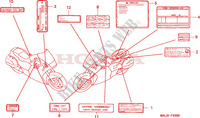 CAUTION LABEL Honda motorcycle microfiche diagram ST1100AX 1999 PAN EUROPEAN ST 1100 ABS