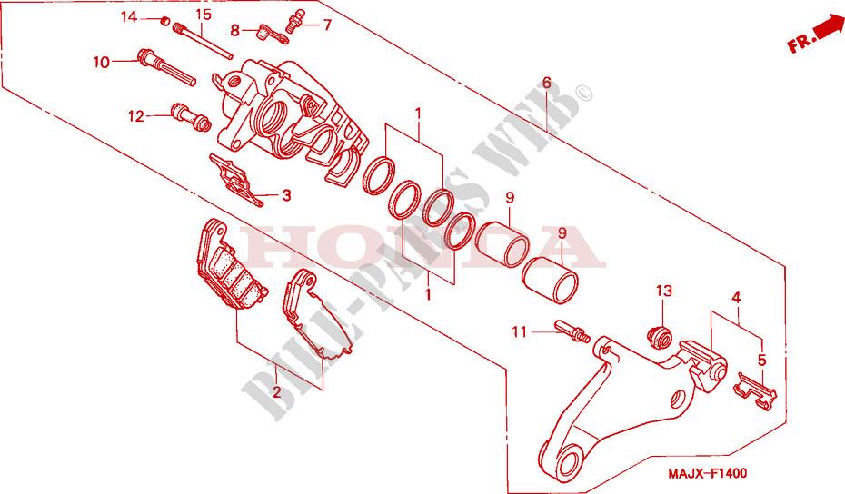 rear brake caliper st1100 frame st1100x 1999 pan european 1100 motohonda moto 1100 pan european 1999 st1100x frame rear brake caliper (st1100)