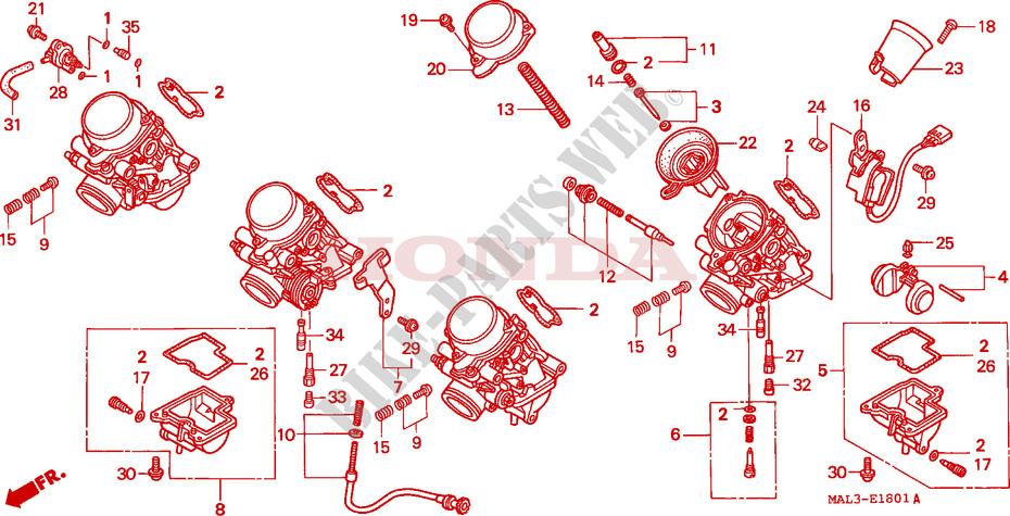 Carburetor  Component Parts  For Honda Cbr 600 F3 1998   Honda Motorcycles  U0026 Atvs Genuine Spare