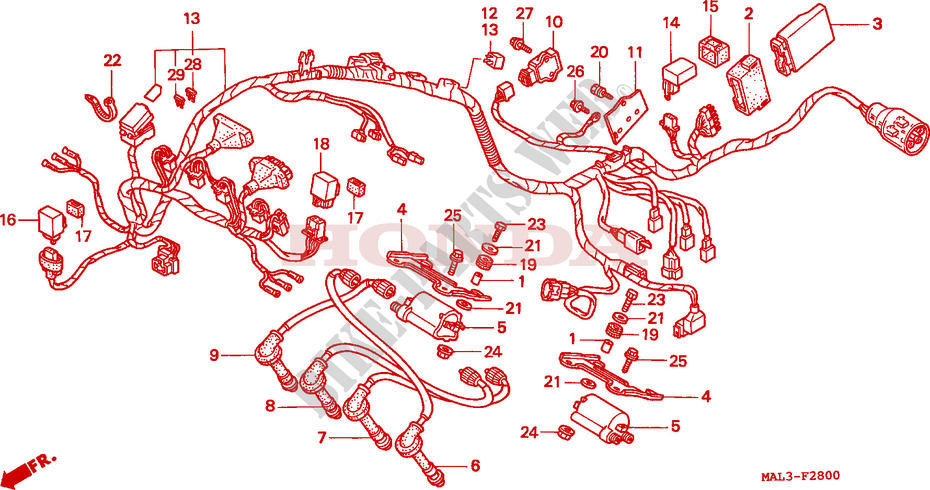 F__2800 wire harness cbr 600 f3 cbr600f3w 1998 canada cbr600f3w honda  at bakdesigns.co