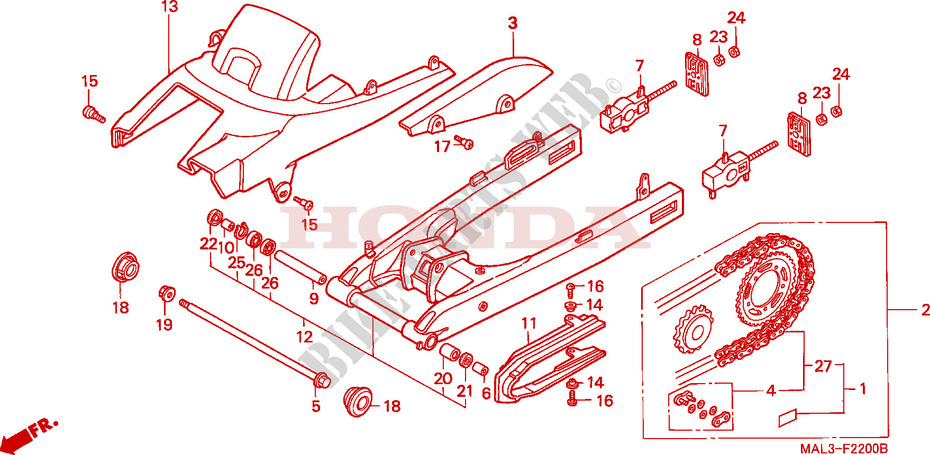 Swingarm For Honda Cbr 600 F3 1997   Honda Motorcycles  U0026 Atvs Genuine Spare Parts Catalog