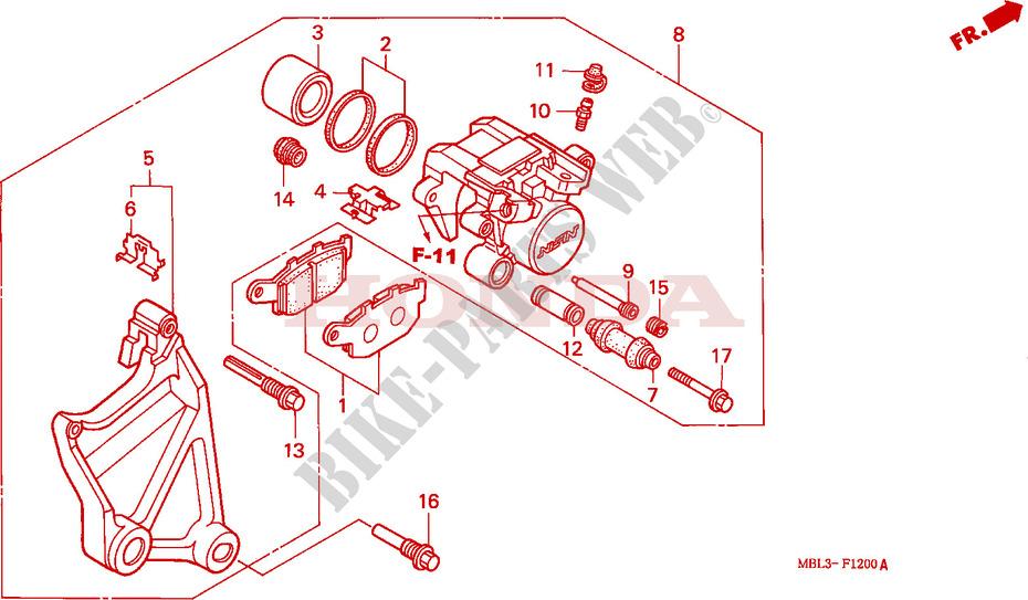 honda moto 650 deauville 2001 nt650v1 frame rear brake caliper (nt650vw/x/y
