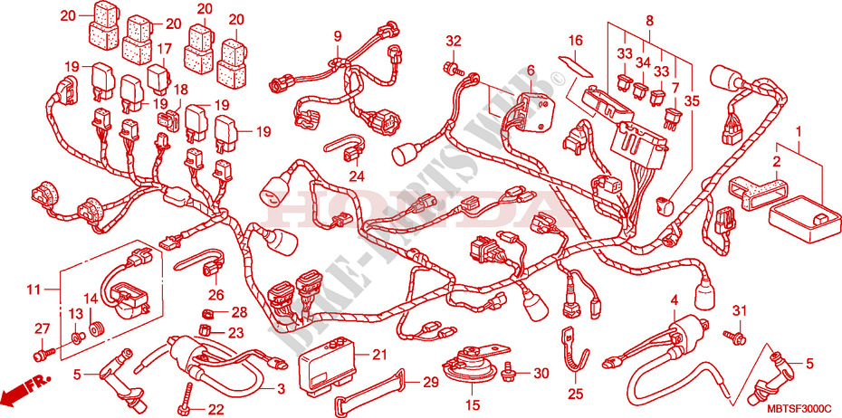 Wire Harness  Xl1000v  For Honda Xl 1000 Varadero Blue Red