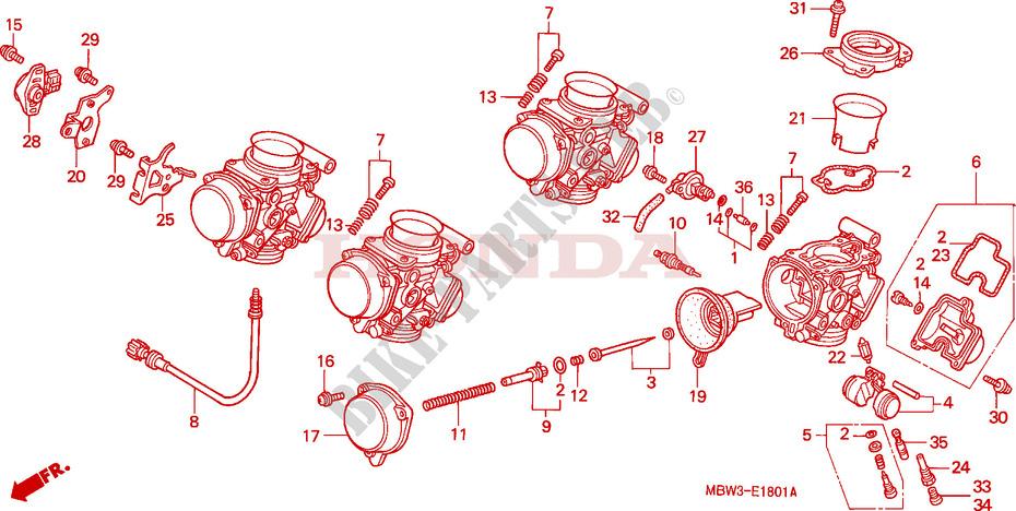 Carburetor Component Parts Engine Cbr600f4y 2000 Cbr 600 Moto Honda