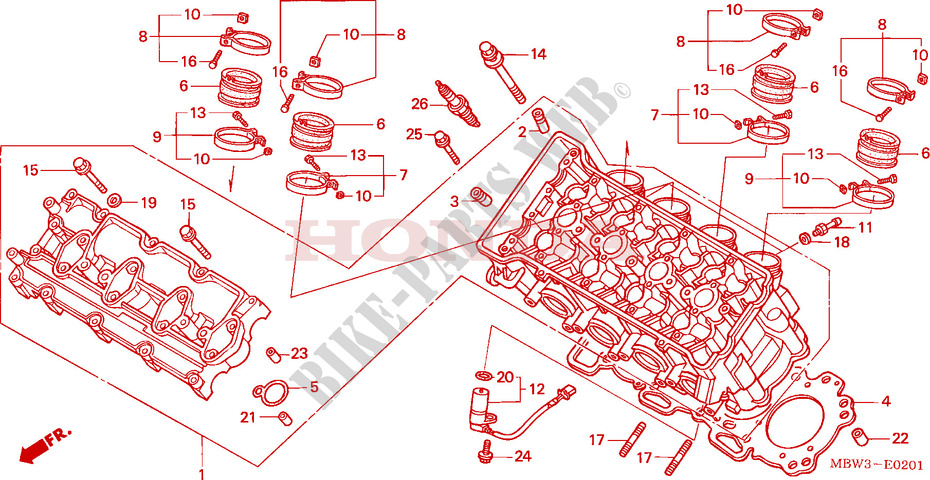 CYLINDER HEAD (2) for Honda CBR 600 S 2001