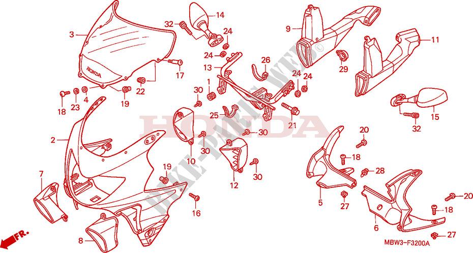 Honda MOTO 600 CBR 1999 CBR600FX Frame UPPER COWL 1