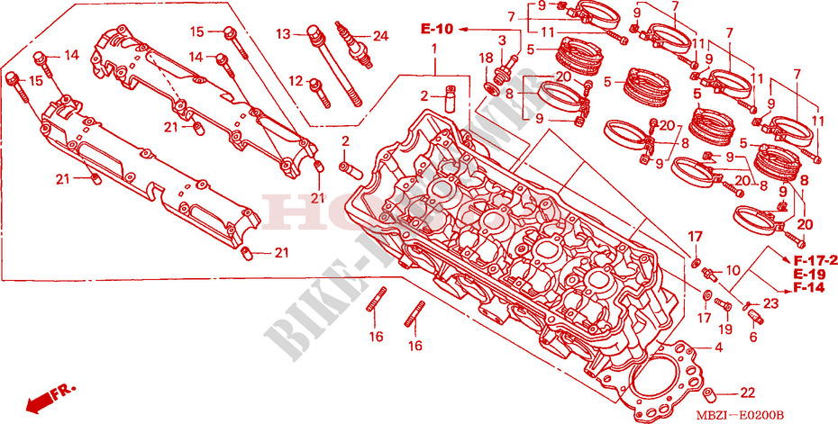 CYLINDER HEAD for Honda CB 600 F HORNET 2002