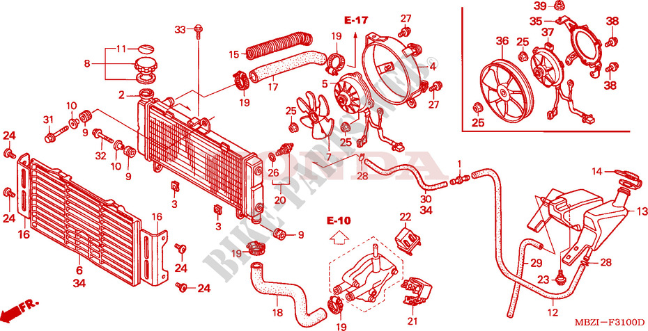 Radiator Frame Cb600f2 2002 Hornet 600 Moto Honda Motorcycle Honda