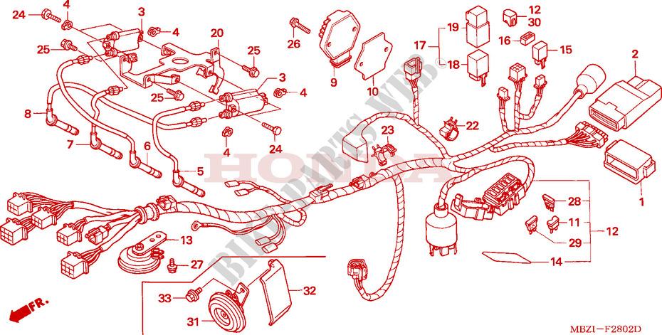 wire harness cb600f3 4 5 6 frame cb600f4 2004 hornet 600 ... honda hornet 600 wiring diagram 1993 honda cbr 600 wiring diagram #15
