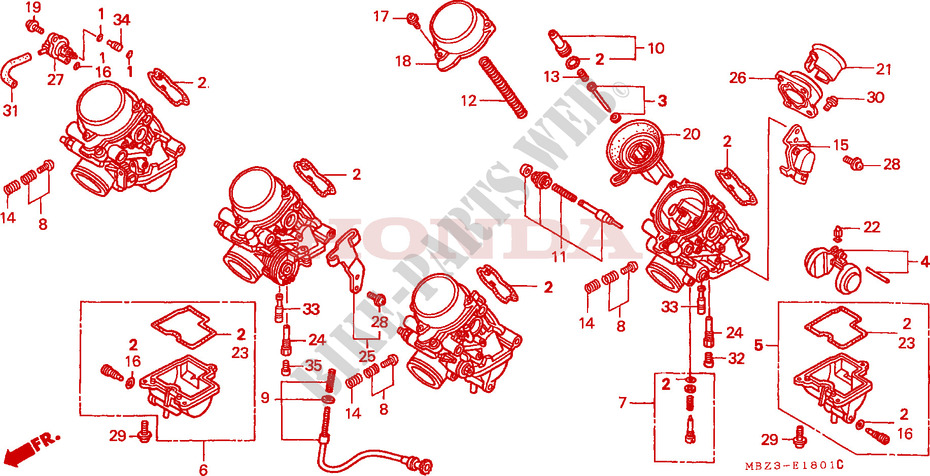 CARBURETOR (COMPONENT PARTS) for Honda CB 600 S HORNET 2001
