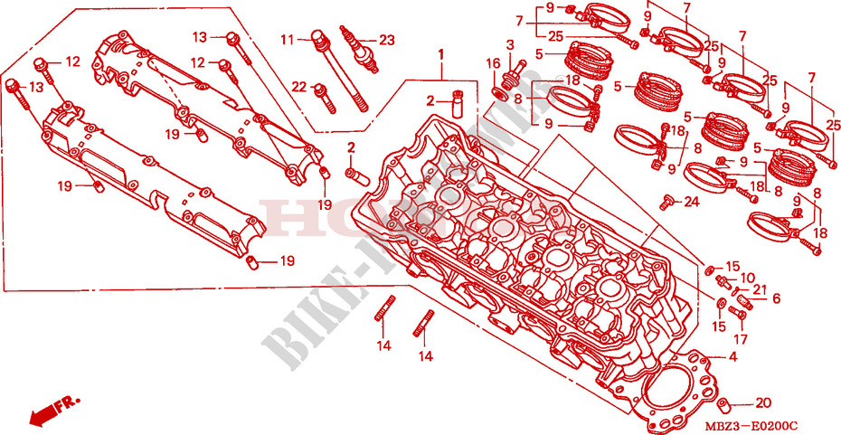 CYLINDER HEAD for Honda CB 600 HORNET 1998