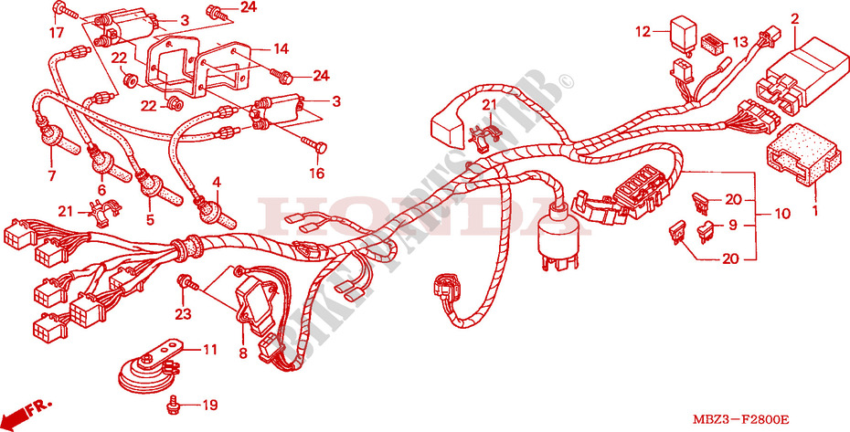 Wire Harness  1  For Honda Cb 600 F Hornet 1999   Honda