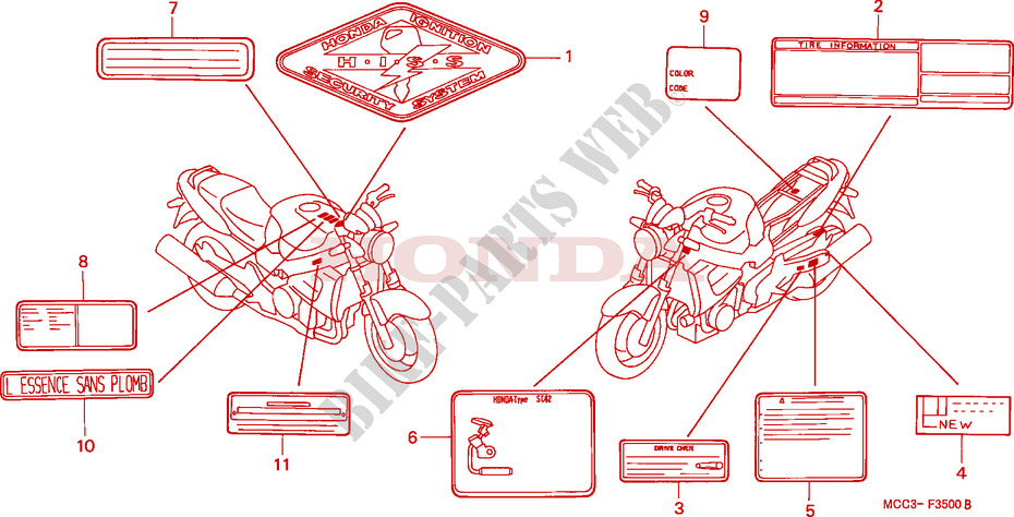 CAUTION LABEL for Honda CB 1100 X11 2001