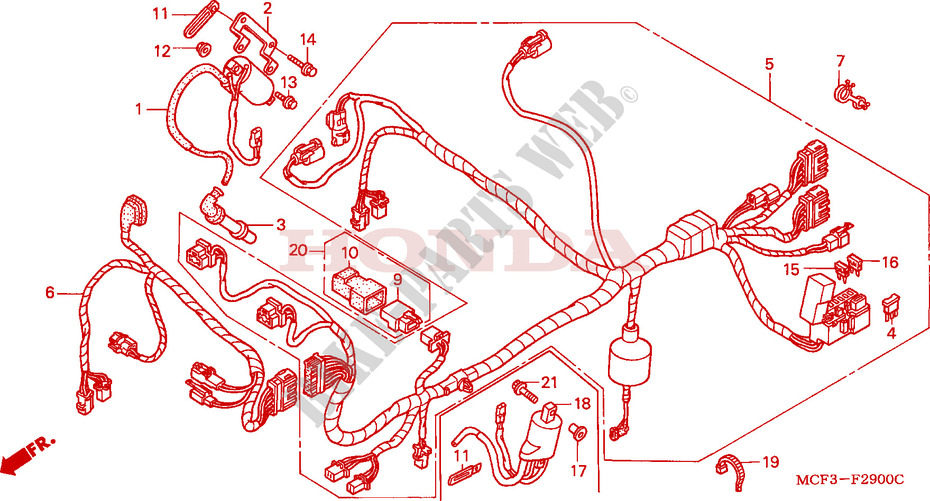 Wire Harness  Front  For Honda Vtr 1000 Sp2 2005   Honda