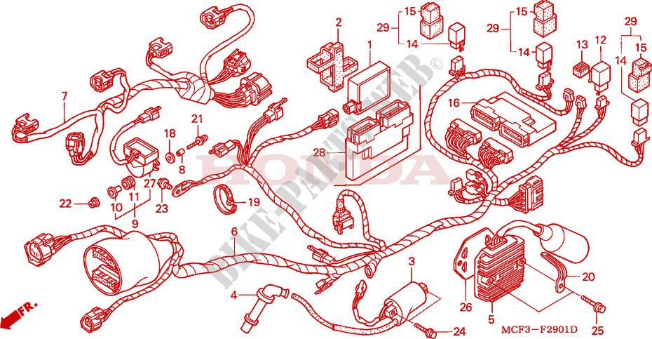 honda moto 1000 sp1 2000 vtr1000spy frame wire harness (rear)