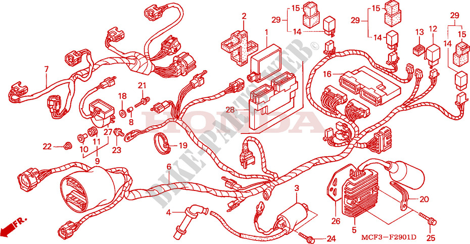 honda moto 1000 sp1 2001 vtr1000sp1 frame wire harness (rear)