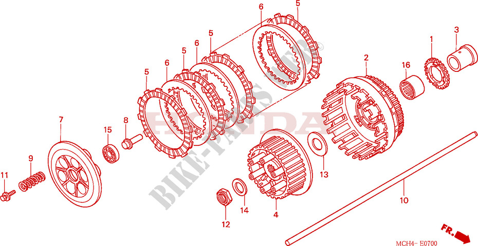 Clutch For Honda Vtx 1800 C 2005   Honda Motorcycles