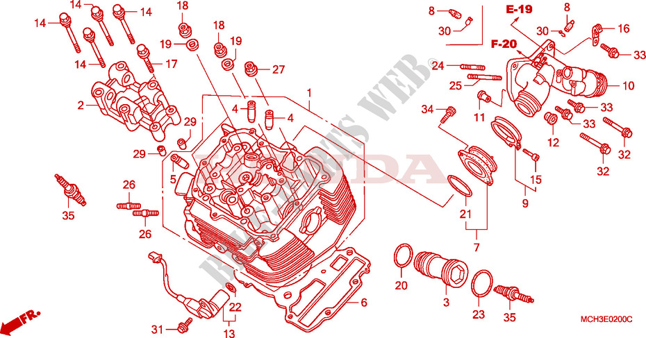 Front Cylinder Head For Honda Vtx 1800 C 2008   Honda
