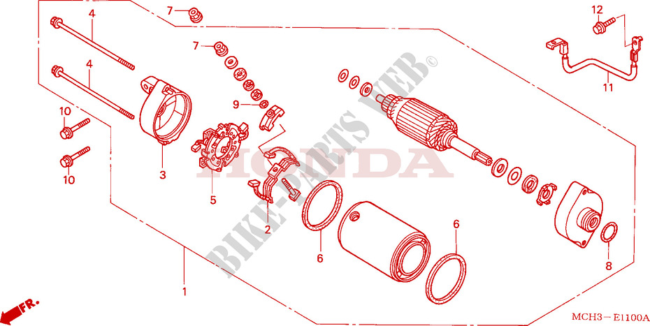 Starter Motor For Honda Vtx 1800 C 2005   Honda Motorcycles  U0026 Atvs Genuine Spare Parts Catalog