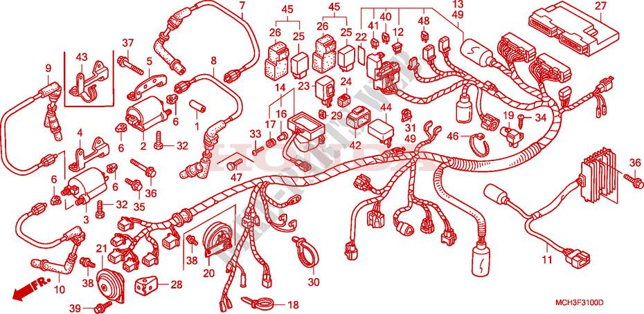 honda moto 1800 vtx 2005 vtx1800c15 frame wire harness