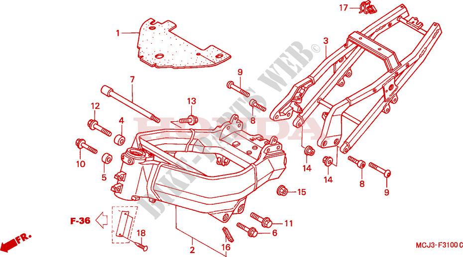 Frame  Cbr900rry 1  Re1  For Honda Cbr 929 Rr Fireblade