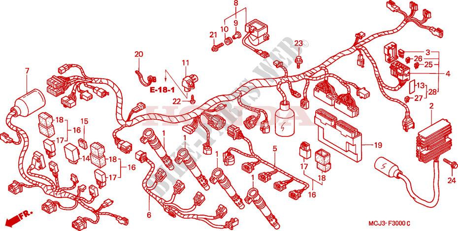 WIRE HARNESS (CBR900RRY,1/RE1) for Honda CBR 929 RR FIREBLADE 2000 # HONDA  Motorcycles & ATVS Genuine Spare Parts CatalogBike Parts-Honda