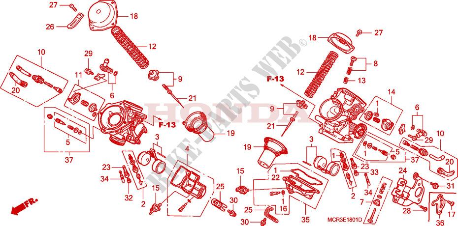 honda moto 750 vt 2002 vt750dc2_a engine carburetor (component parts)