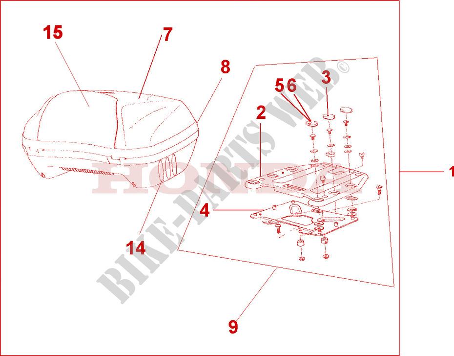 Top Box 45l Accessories St13002 2002 Pan European 1300 Moto Honda