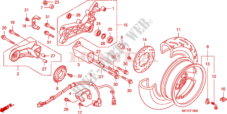 Rear Wheel For Honda Silver Wing 600 Abs 2009   Honda Motorcycles  U0026 Atvs Genuine Spare Parts Catalog