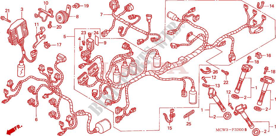 wire harness (vfr800) for honda vfr 800 vtec 2005 honda  honda vfr 750 wiring diagram
