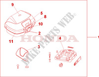 TOP BOX 45L PEARL SUNBEAM WHITE Honda motorcycle microfiche diagram VFR800A9 2011 VFR 800 VTEC ABS WHITE