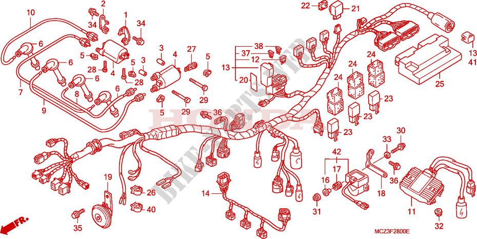 honda cb 919 wiring diagram: wire harness - cb 900 f hornet 919 cb900f3_a  2003