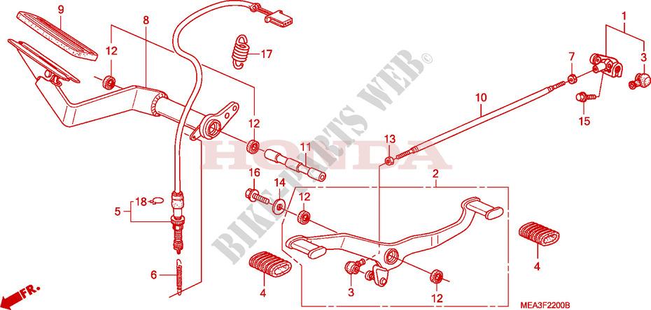 Pedal For Honda Vtx 1300 2003   Honda Motorcycles  U0026 Atvs Genuine Spare Parts Catalog