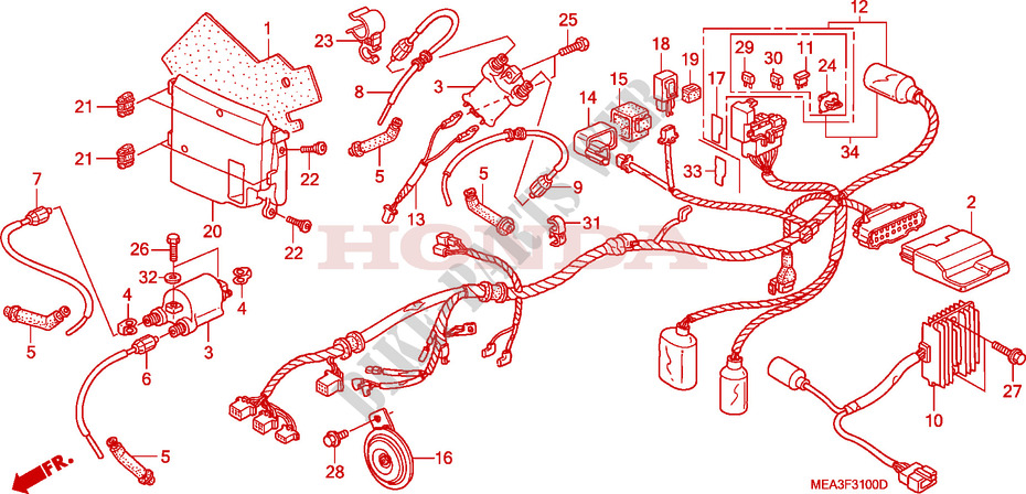 WIRE HARNESS for Honda VTX 1300 2005 # HONDA Motorcycles ...