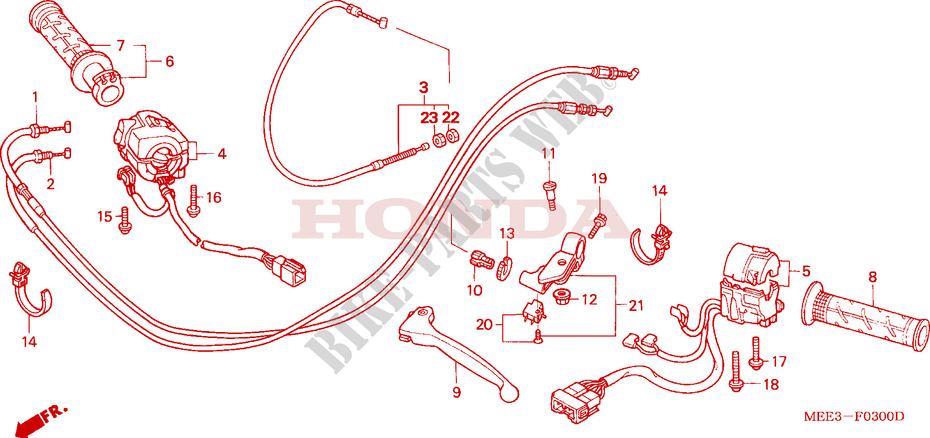 HANDLE LEVER/SWITCH/CABLE Honda microfiche motorcycle CBR600RR3 2003 CBR 600 RR