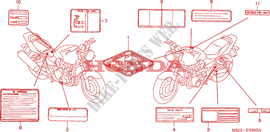 CAUTION LABEL (CB1300/A/F /F1) for Honda CB 1300 2003
